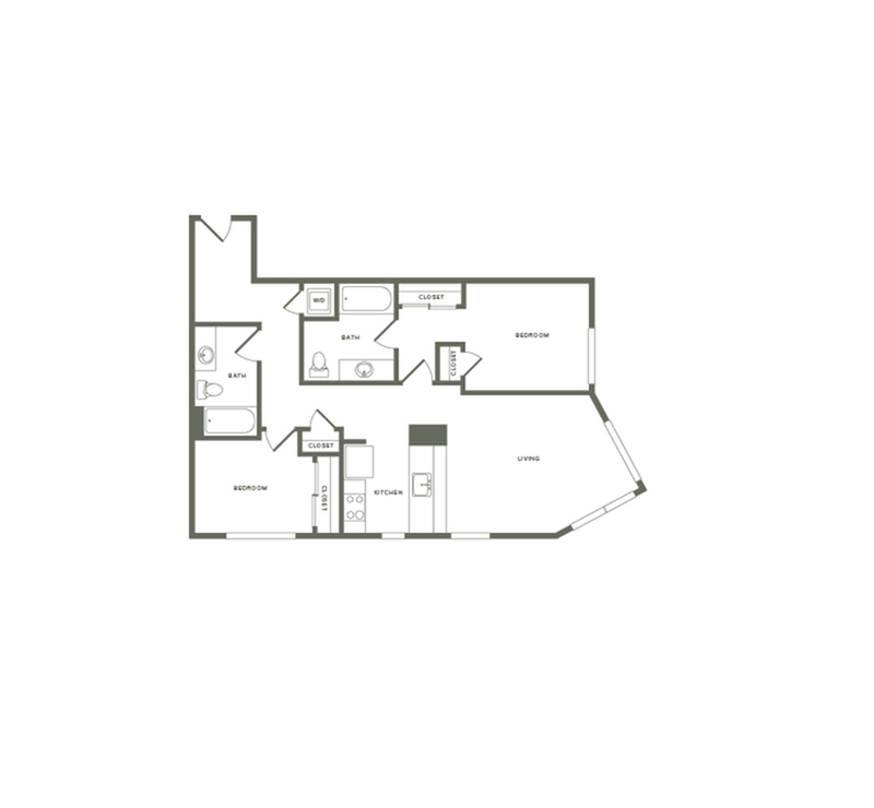 989-1,069 square foot two bedroom two bath floor plan image