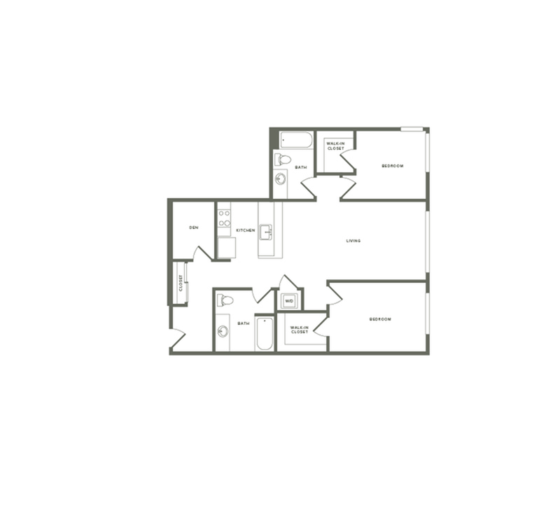 1,056 square foot two bedroom two bath floor plan image