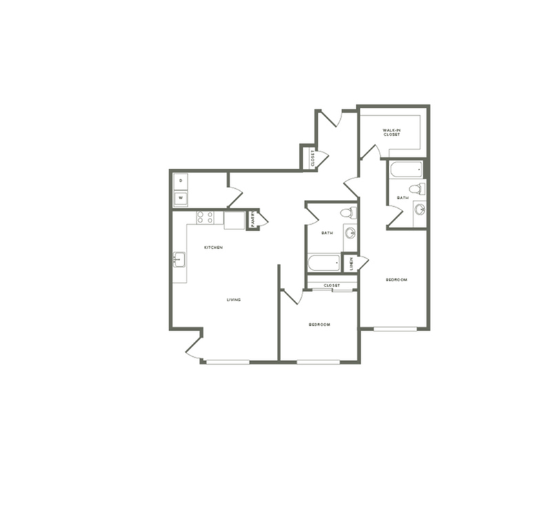 1,233 square foot two bedroom two bath floor plan image