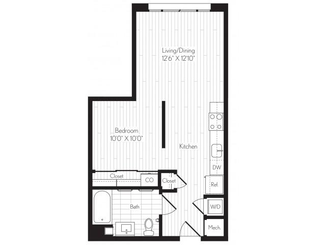 584 square foot one bedroom one bath floor plan image