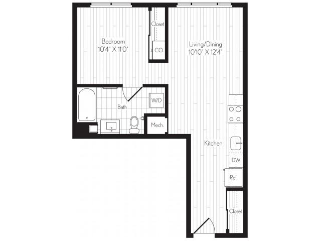 588 square foot one bedroom one bath floor plan image