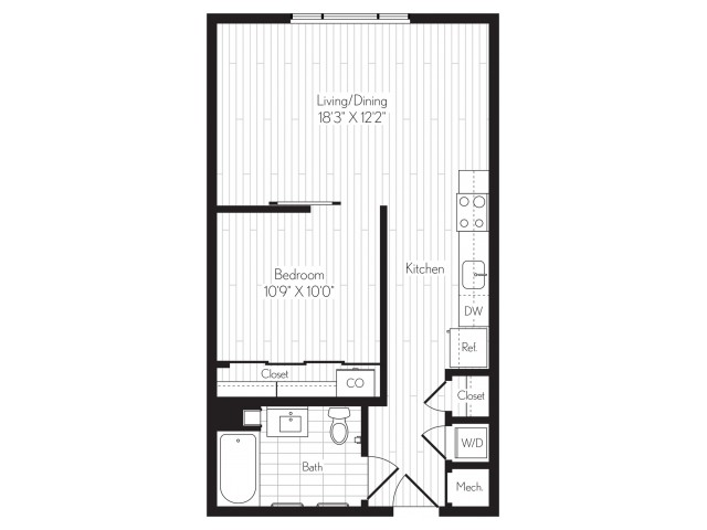 634 square foot one bedroom one bath floor plan image