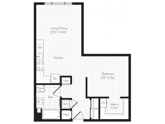 705 square foot one bedroom one bath floor plan image