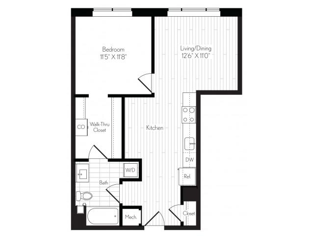 716 square foot one bedroom one bath floor plan image