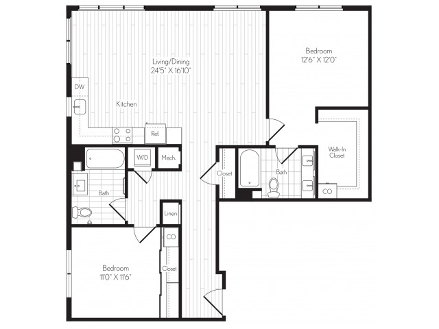 1244 square foot two bedroom two bath floor plan image