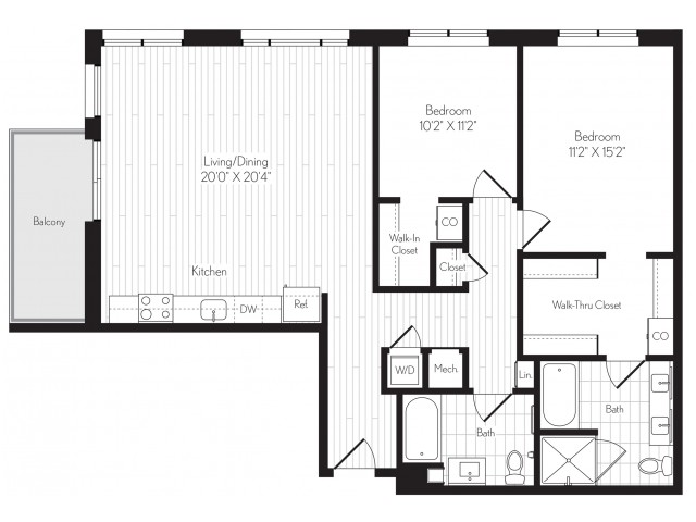1222 square foot two bedroom two bath floor plan image
