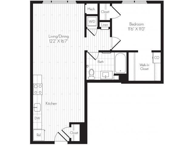 763 square foot one bedroom one bath floor plan image
