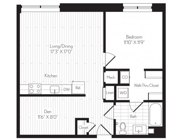818 square foot one bedroom one bath floor plan image