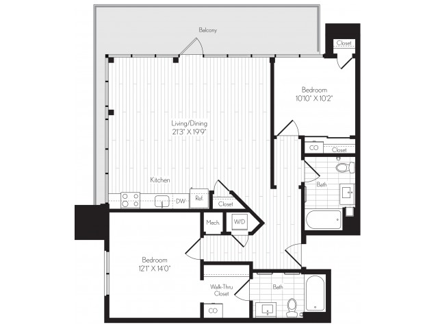 1140 square foot two bedroom two bath floor plan image