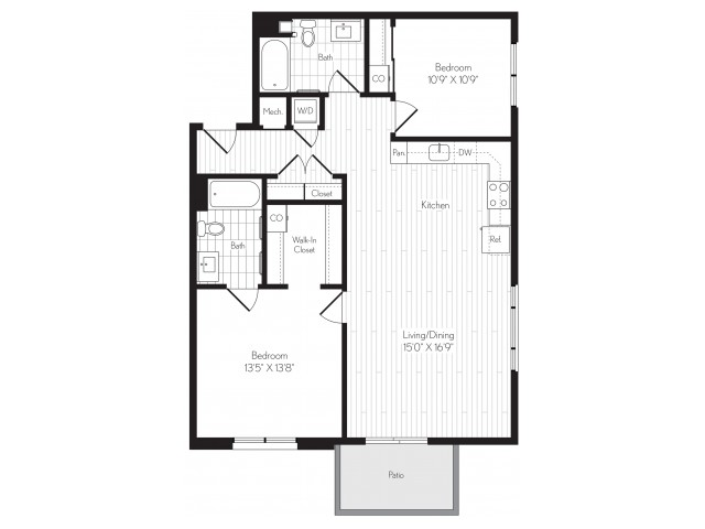 1127 square foot two bedroom two bath floor plan image
