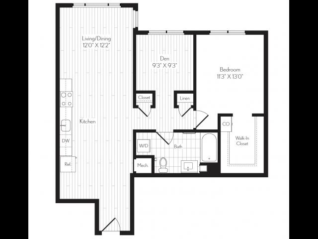 924 square foot one bedroom one bath floor plan image