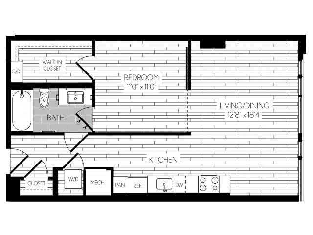 668 square foot one bedroom one bath apartment floorplan image