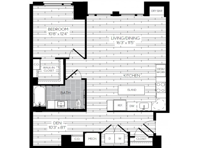 922 square foot one bedroom one bath with den apartment floorplan image