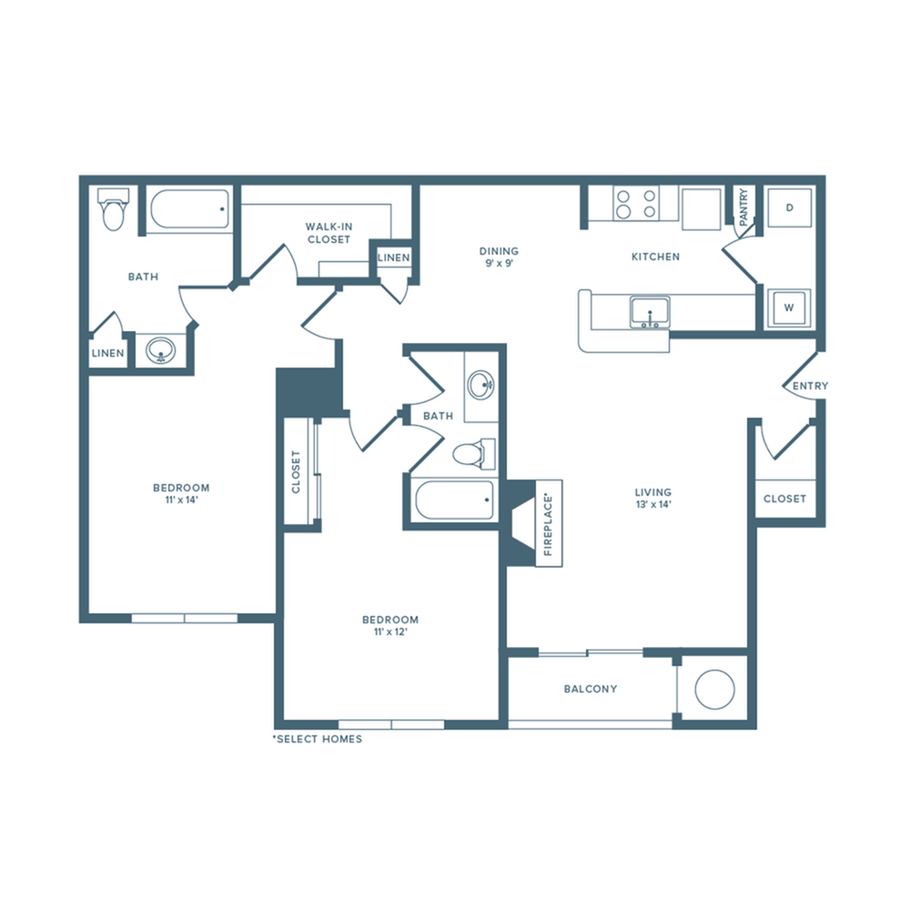 1134 square foot renovated two bedroom two bath floor plan image
