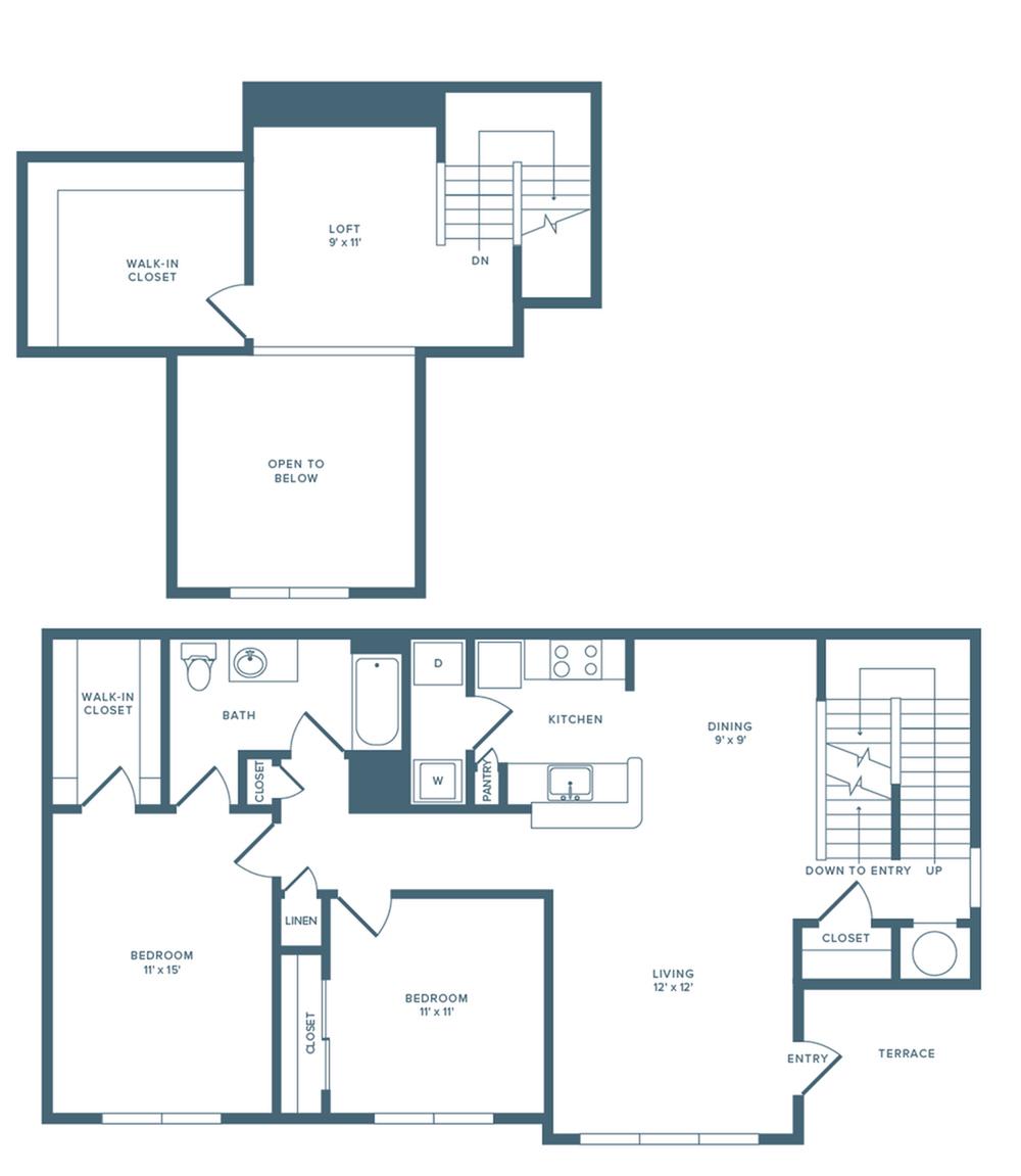 1326 square foot renovated two bedroom one bath loft floor plan image