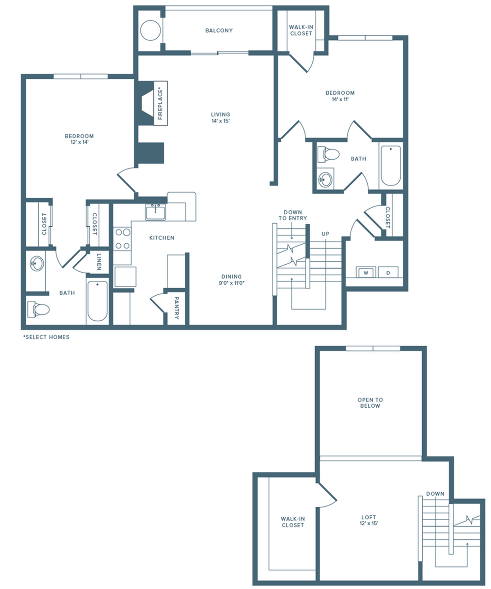 1569 square foot renovated two bedroom two bath loft floor plan image