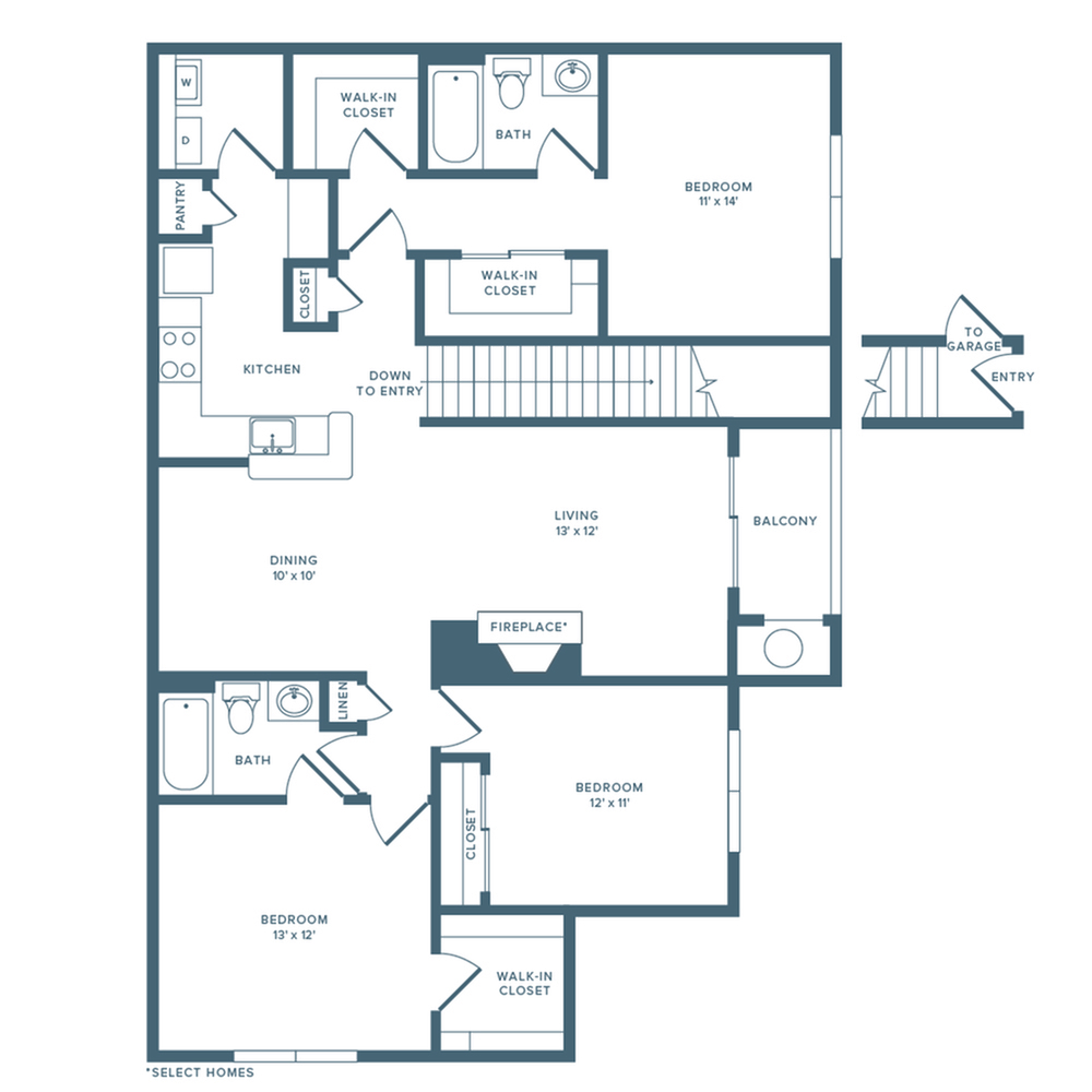 1472 square foot renovated three bedroom two bath floor plan image