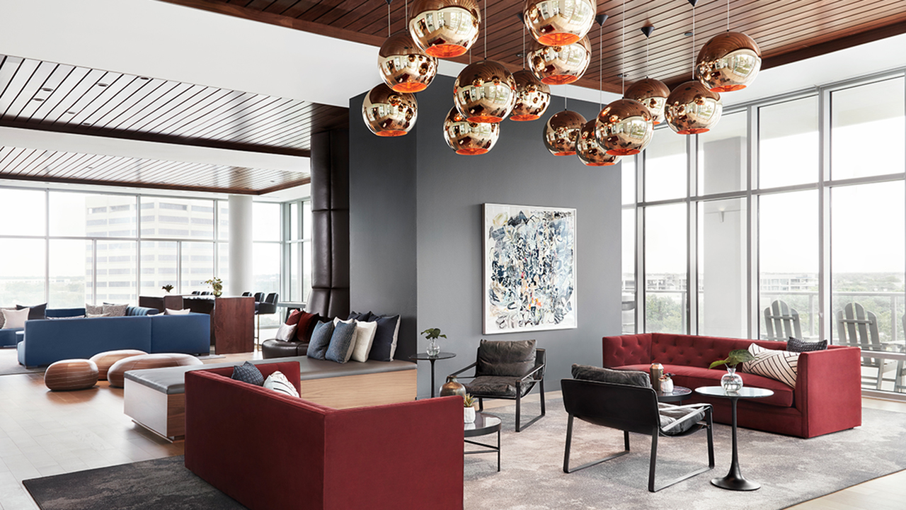 Custom furniture and artwork in lobby