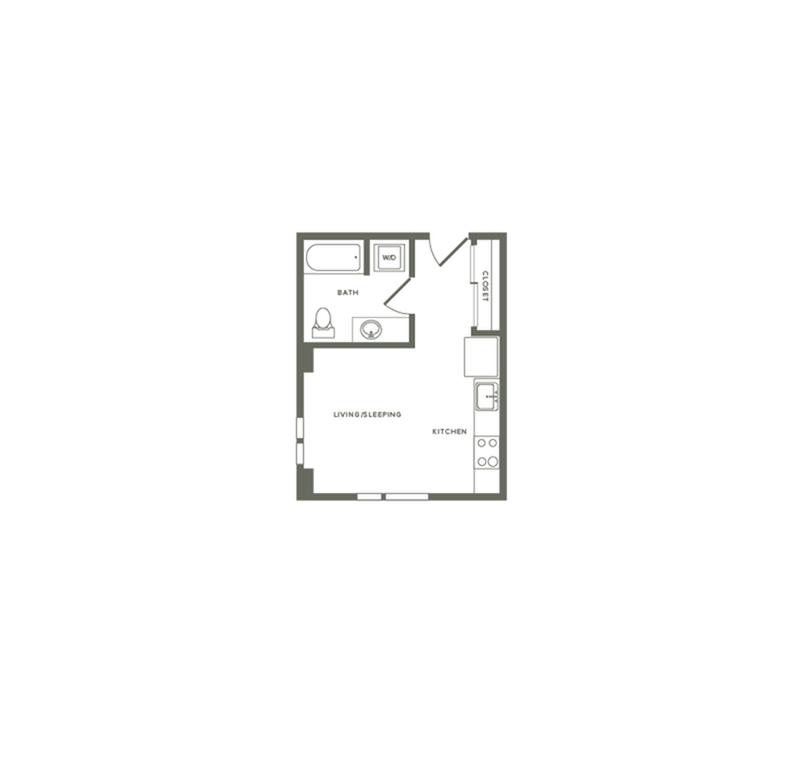 398 square foot studio one bath floor plan image