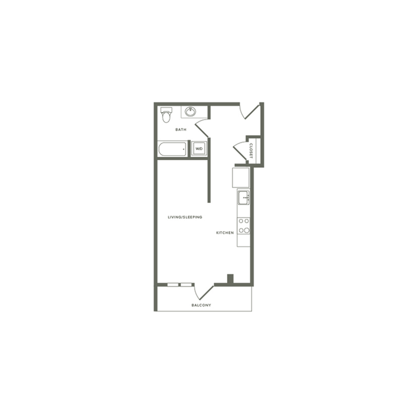 463 to 515 square foot studio one bath floor plan image