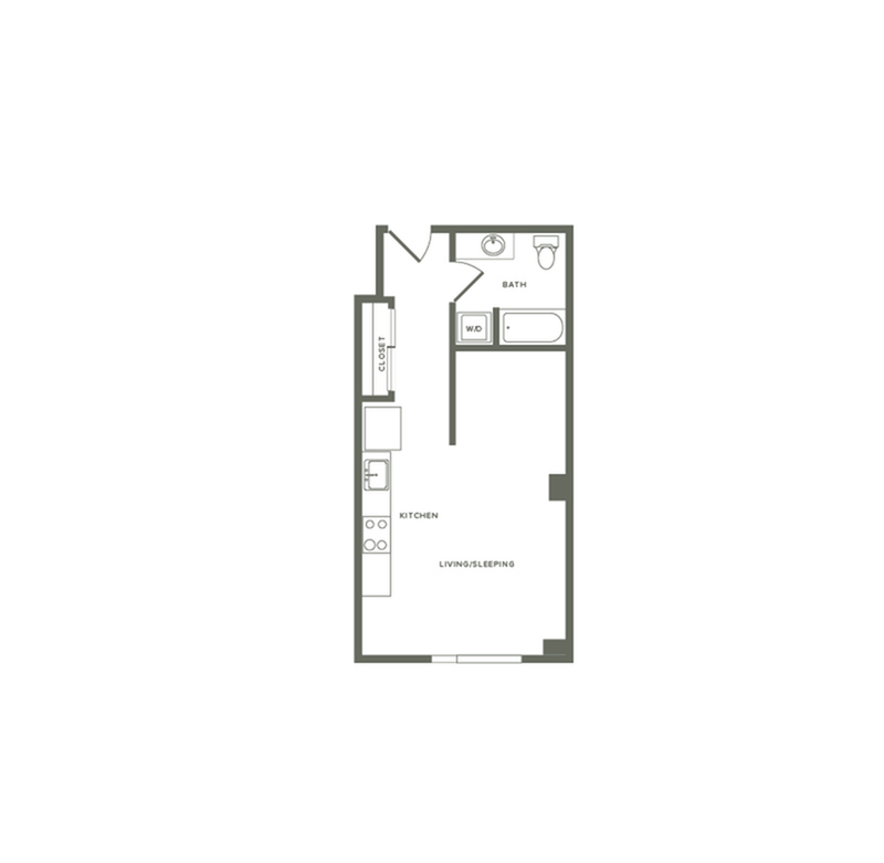 536 square foot studio one bath floor plan image