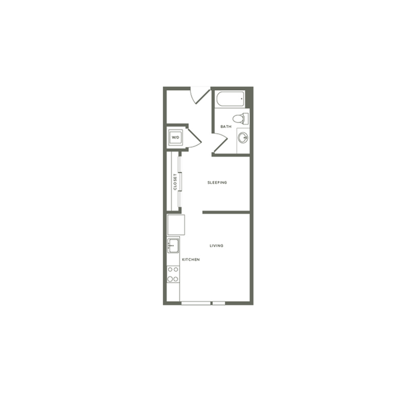 A01-B 477+ square foot one bedroom one bath floor plan