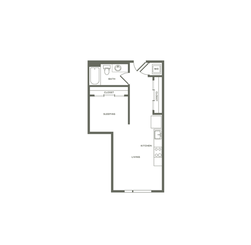581 square foot one bedroom one bath apartment floorplan image