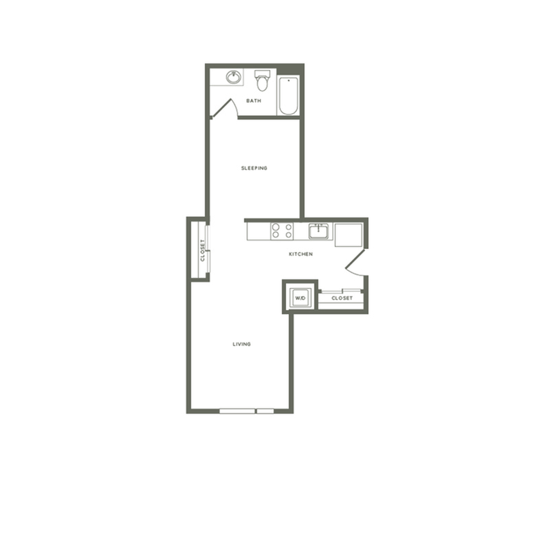 643 square foot one bedroom one bath apartment floorplan image