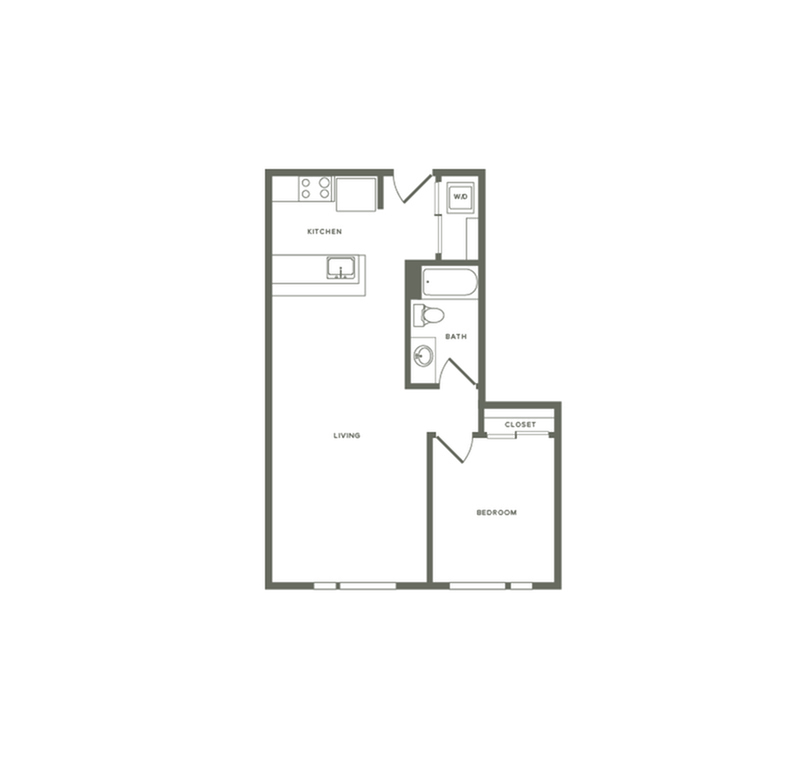 749 square foot one bedroom one bath apartment floorplan image