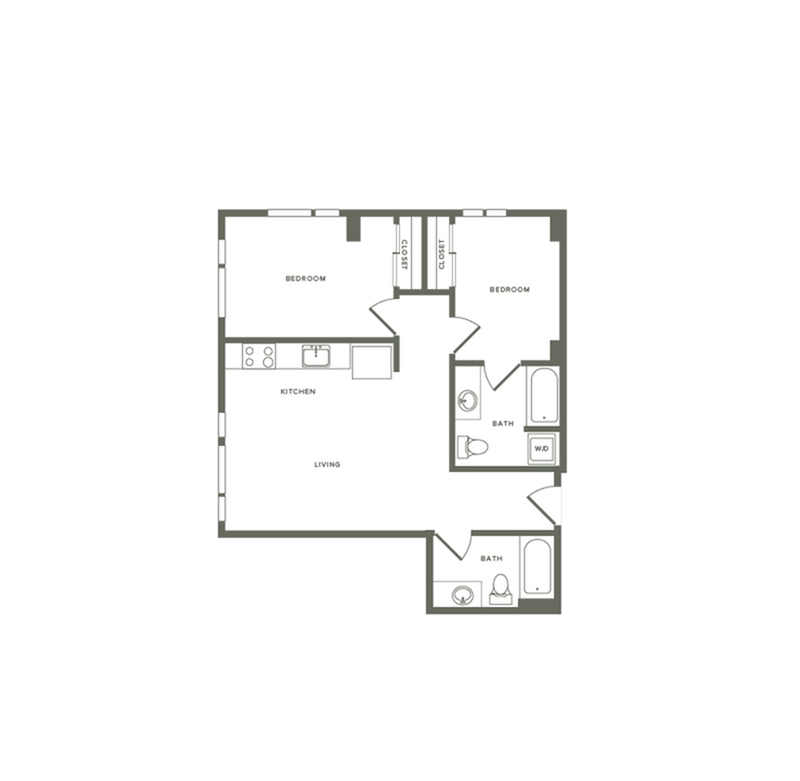884 square foot two bedroom two bath apartment floorplan image