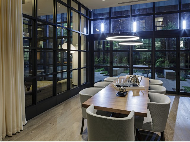 Private Meeting Room with Floor to Ceiling Windows and Seating for Eight