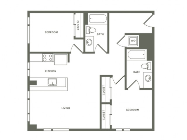 1077 square foot two bedroom two bath apartment floorplan image