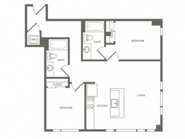 1041 square foot two bedroom two bath apartment floorplan image