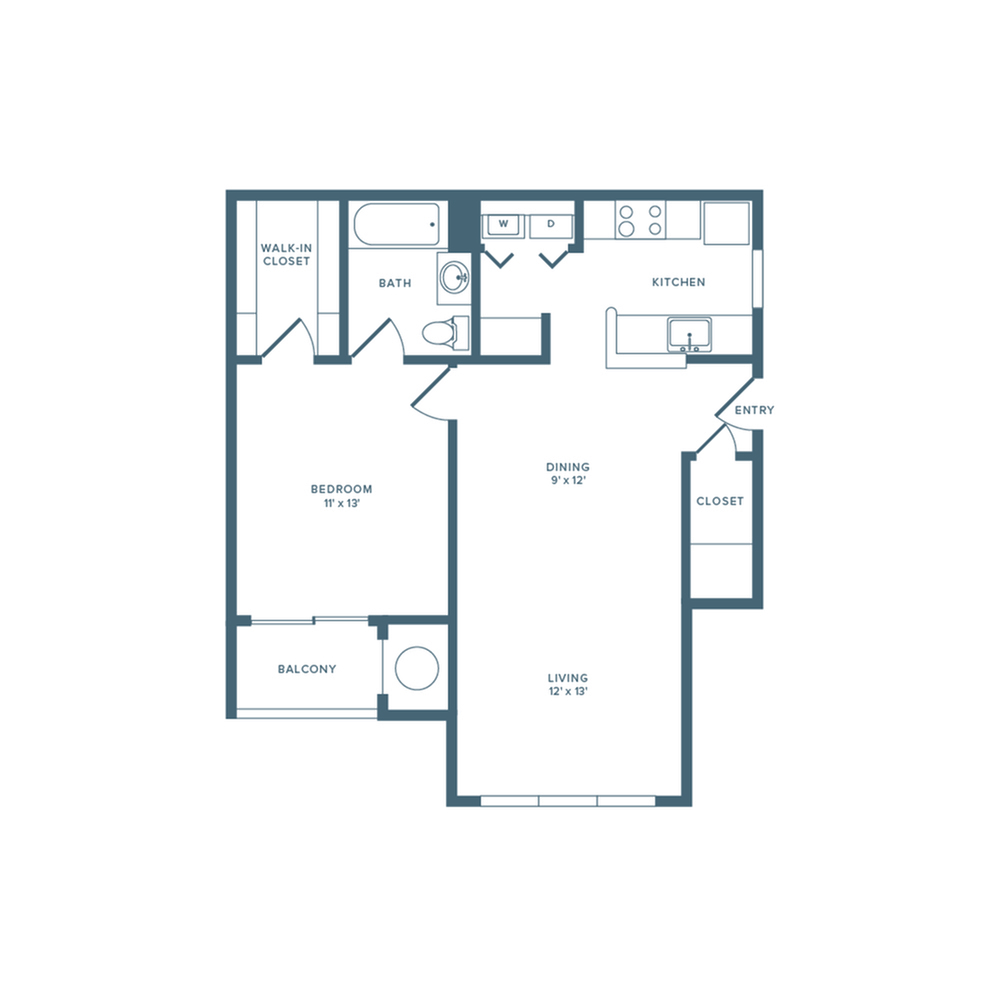 739 square foot one bedroom one bath floor plan image