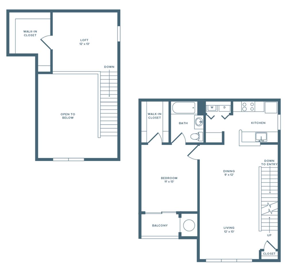 1019 square foot one bedroom one bath loft floor plan image