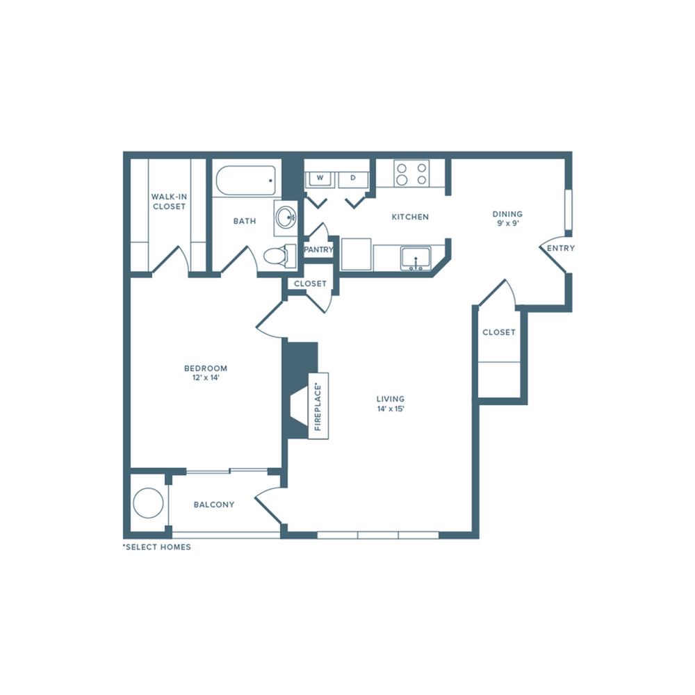 888 square foot one bedroom one bath floor plan image