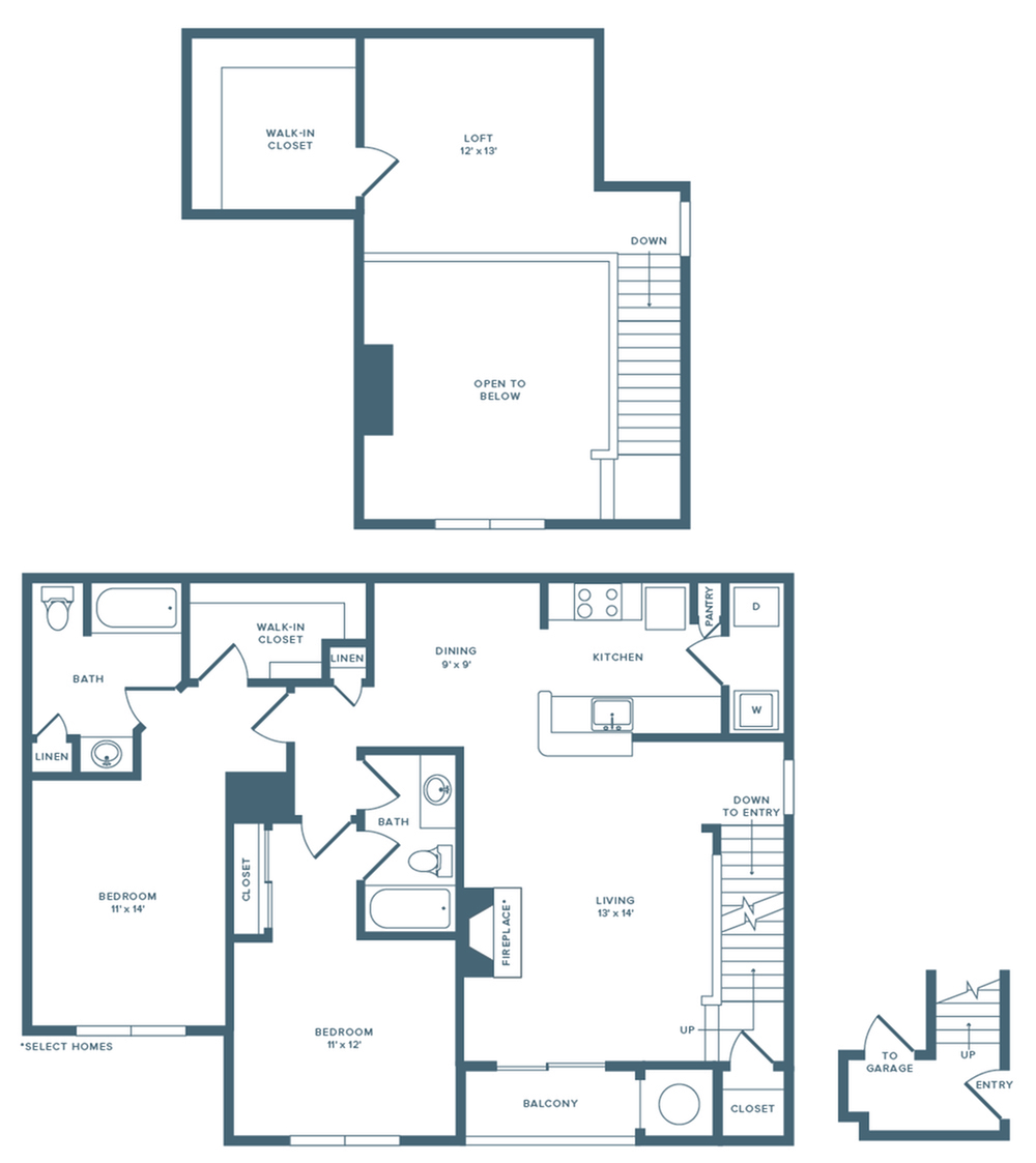 1425 square foot upgraded two bedroom two bath loft floor plan image