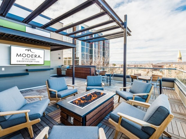 Image of Top floor deck with Downtown and mountain views for Modera Observatory Park