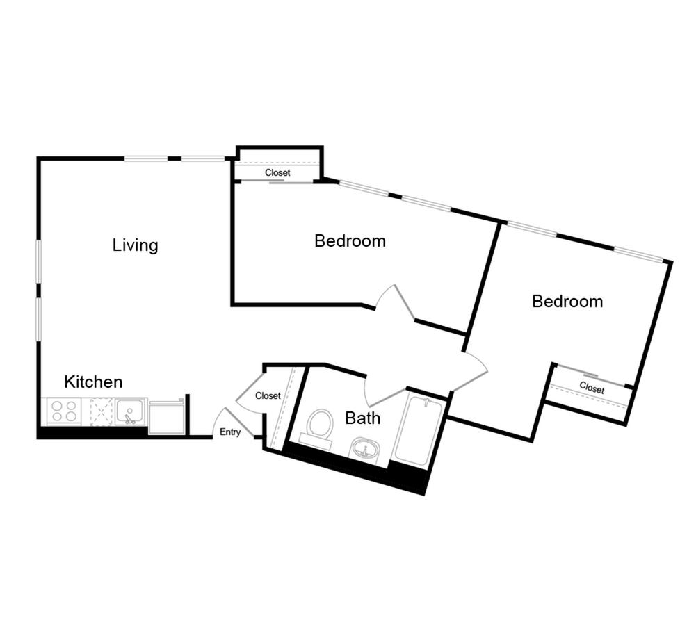 684 square foot two bedroom one bath floor plan image