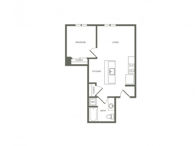 623 square foot one bedroom one bath apartment floorplan image
