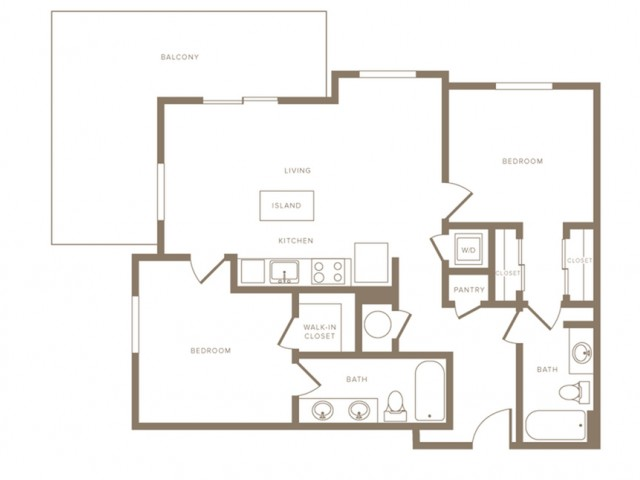 1093 square foot two bedroom two bath phase II apartment floorplan image