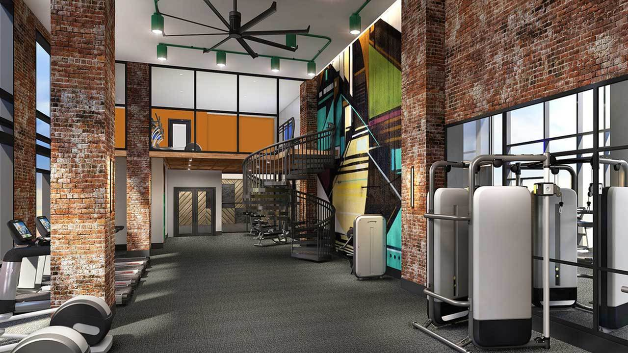 Rendering of bi-level fitness center