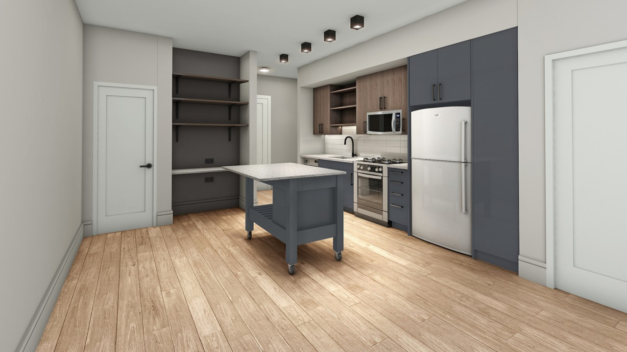 Open Concept Kitchen with movable island and desk