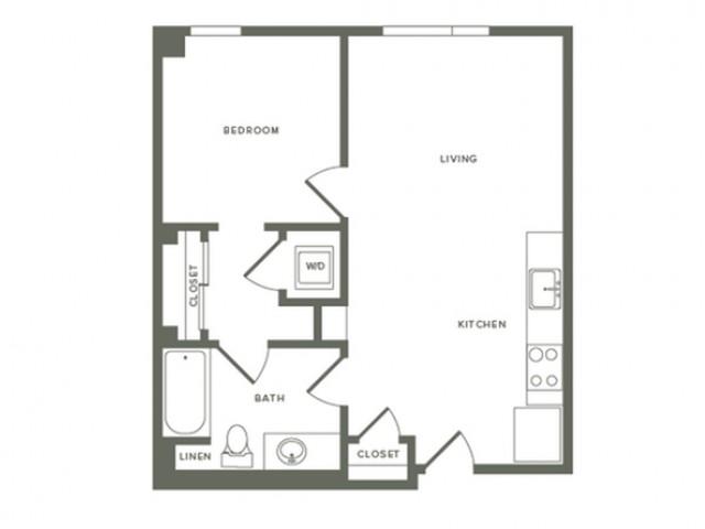 624 square foot one bedroom one bath floor plan image