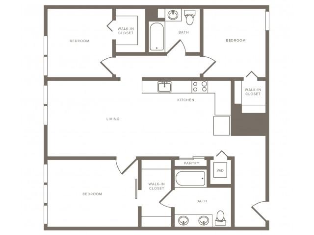1223 square foot three bedroom two bath floorplan image