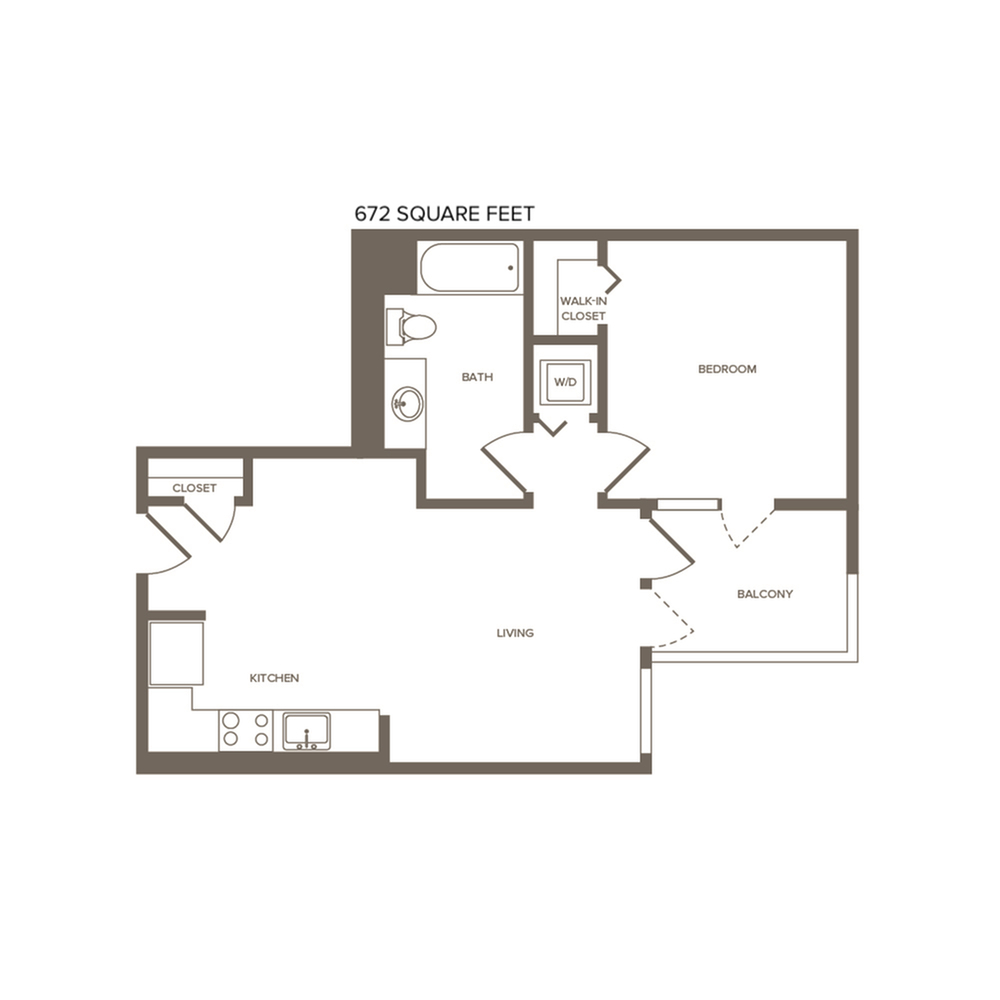 673 square foot one bedroom one bath floor plan image
