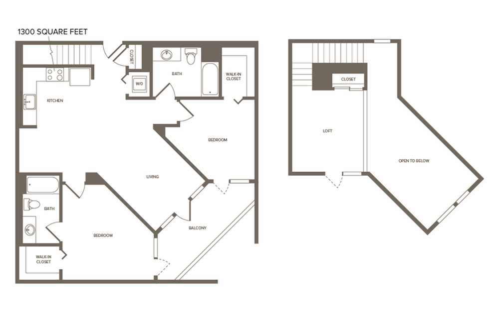 1300 square foot two bedroom two bath loft floor plan image