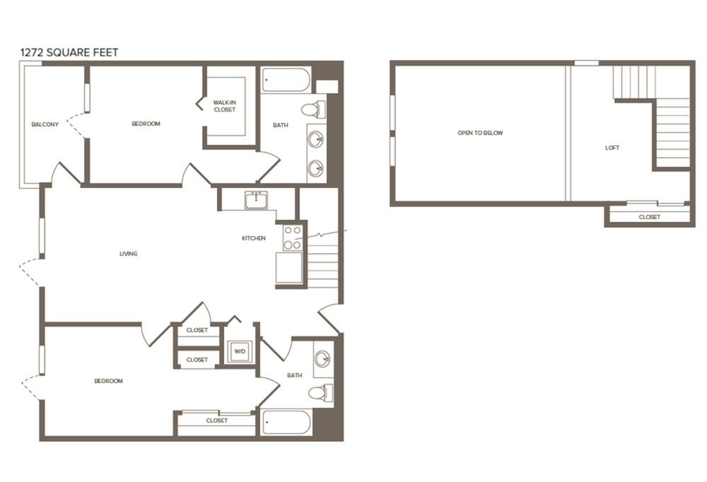 1273 square foot two bedroom two bath floor plan image