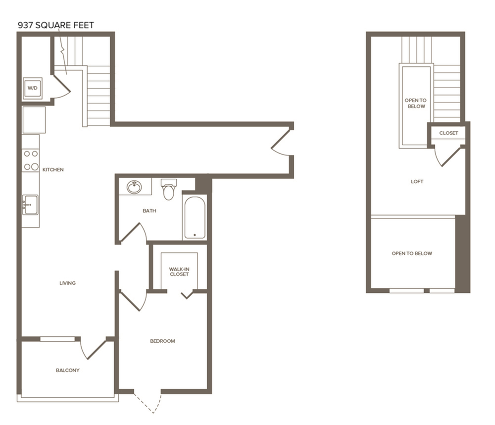 937 square foot one bedroom one bath floor plan