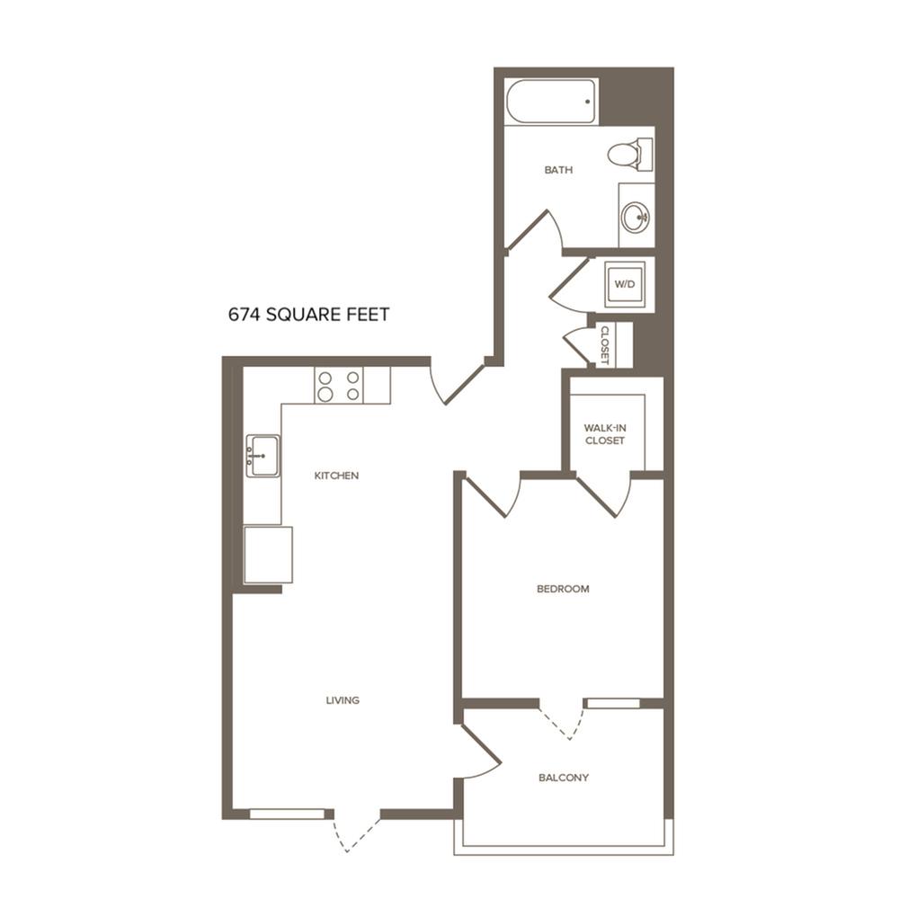 674-700 square foot one bedroom one bath floor plan